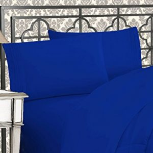 Elegant Comfort Luxurious 1500 Thread Count Egyptian Three Line Embroidered Softest Premium Hotel Quality 4-Piece Bed Sheet Set, Wrinkle and Fade Resistant, Queen, Royal Blue