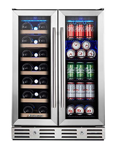 Kalamera 24'' Wine and Beverage Cooler Dual Zone Built-in and Freestanding with Stainless Steel Door