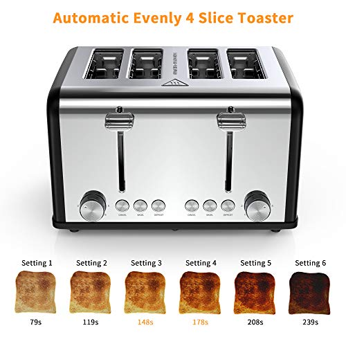 4 Slice Toaster,Famistar Best Rated Prime Toasters Extra Wide Slots Stainless Steel 4 Slice Toaster,Famistar Best Rated Prime Toasters Extra Wide Slots Stainless Steel Toaster(6 Bread Shade Settings, Defrost/Reheat/Cancel Function,Removable Crumb Tray, 1650W).