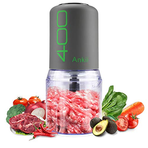 Food Processor Blender Electric Vegetable Chopper Multifunctional Meat Chopper Veggie and Fruit Mincer Mixer with 4 Stainless Steel Blades, 400-Watt, 2 Cup Capacity (Gray)