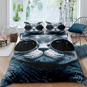 Fashion Cat with Glasses Duvet Cover Set Kids boys Teens Modern 3D Digital Animal Pattern Printed Bedding Set Luxury Microfiber Soft Lightweight Comforter Cover for Bedroom Decoration,Full Size