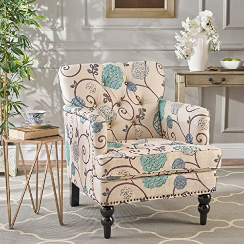 Christopher Knight Home Harrison Fabric Tufted Club Chair, White / Blue