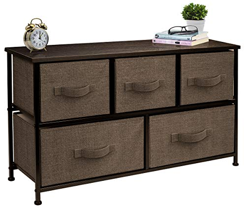 Sorbus Dresser with 5 Drawers - Furniture Storage Chest Tower Unit for Bedroom, Hallway, Closet, Office Organization - Steel Frame, Wood Top, Easy Pull Fabric Bins (Brown)