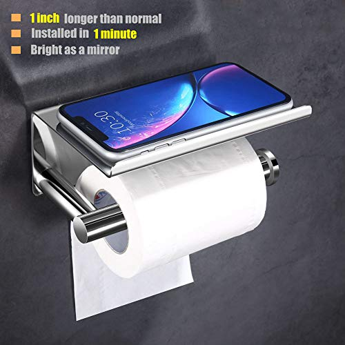 Upgrade Toilet Paper Holder with Anti-Drop Larger Phone Shelf,Self Adhesive Toilet Paper Roll Holder for Bathroom,Stainless Steel Tissue Paper Holder,Wall Mounted with Adhesive Pad or Screws,Chrome