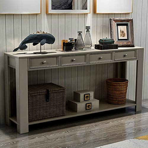 """P PURLOVE Console Table for Entryway Hallway Easy Assembly 64"""" Long Sofa Table with Drawers and Bottom Shelf (64"""", Antique Grey)"""