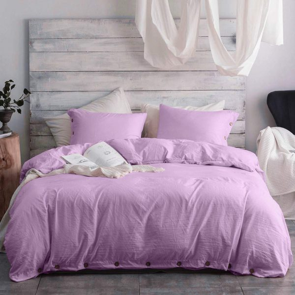 Argstar 3 Pcs 100% Microfiber King Duvet Cover Set King with Buttons, Washed Cotton Effect, Light Purple