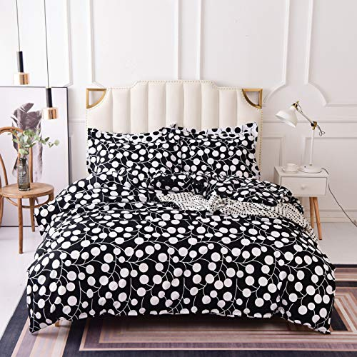 3 Piece Duvet Cover and Pillow Shams Bedding Sets, Hypoallergenic Breathable Soft Microfiber Wrinkle Free with Hidden Zipper and Tieback, Full Size