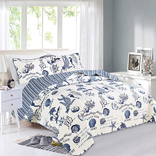 Great Bay Home 2 Piece Quilt Set with Shams. Soft All-Season Microfiber Bedspread Featuring Attractive Seascape Images. Machine Washable. Catalina Collection (Twin, Navy)