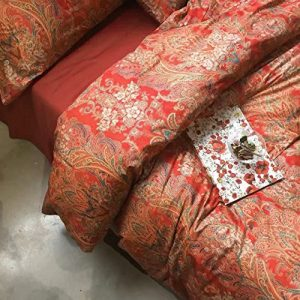 Eikei Boho Paisley Print Luxury Duvet Quilt Cover and Shams 3pc Bedding Set Bohemian Damask Medallion 350TC Egyptian Cotton Sateen (King, Gold Red)
