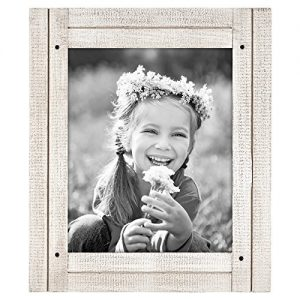 "Americanflat Picture Frame in Aspen White with Three Displays Textured MDF and Polished Glass for Wall and Tabletop - 8"" x 10"""
