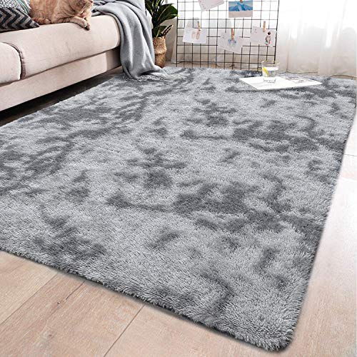 YJ.GWL Soft Indoor Large Modern Area Rugs Shaggy Fluffy Carpets Suitable for Living Room and Bedroom Nursery Rugs Abstract Accent Home Decor Rugs for Girls and Kids 5x8 Feet Grey