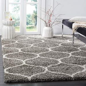 Safavieh Hudson Shag Collection SGH280B Moroccan Ogee Plush Area Rug, 8' x 10', Grey/Ivory
