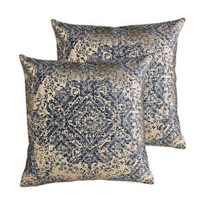 MOTINI Decorative Pillow Covers Gold and Blue 18x18 Inch, Set of 2 Luxury Foil Printed Throw Pillows Traditional Pattern Cotton Pillow Home Decor Pillowcase for Bed Couch