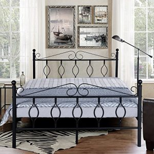 GreenForest Bed Frame Full Size Metal with Headboard Steel Platform Bed No Box Spring Needed Strong Mattress Foundation, Black