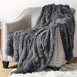 Hyde Lane Fluffy Plush Throw Blankets for Couch Sofa - 2 Way Reversible Ultra Soft Long Faux Fur Blanket | Shaggy Fuzzy Throw Blankets for Bedroom | Easy Care Washable Lightweight - 50x60 Grey