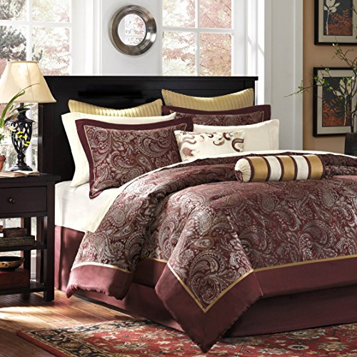 Madison Park Aubrey Queen Size Bed Comforter Set Bed In A Bag - Burgundy , Paisley Jacquard – 12 Pieces Bedding Sets – Ultra Soft Microfiber Bedroom Comforters