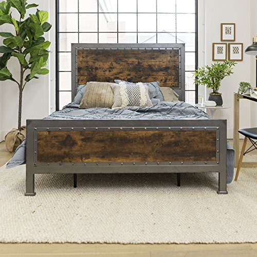 New Rustic Queen Industrial Wood and Metal Bed-Includes Head and Footboard Guarantee: Producer presents a 30 day elements alternative guarantee for any defects upon receipt of field.