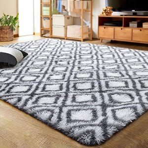 LOCHAS Luxury Velvet Shag Area Rug Modern Indoor Plush Fluffy Rugs, Extra Soft and Comfy Carpet, Geometric Moroccan Rugs for Bedroom Living Room Girls Kids Nursery Children (5x8 Feet, Grey/White)