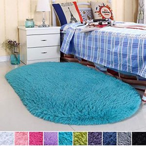 Noahas Ultra Soft 4.5cm Velvet Bedroom Rugs Kids Room Carpet Modern Shaggy Area Rugs Home Decor 2.6' X 5.3', Blue