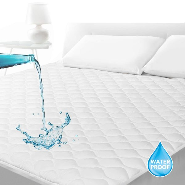 """SLEEP ACADEMY Waterproof Quilted Mattress Pad King, Hypoallergenic, Smooth Soft Mattress Protector Breathable, Fitted 18"""" Deep, Vinyl Free"""