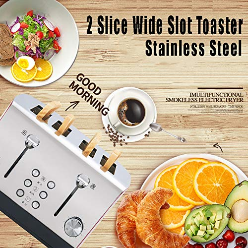 FYLY-Toaster 4 Slice, Pop-Up Wide Slots Stainless Steel Toaster FYLY-Toaster 4 Slice, Pop-Up Wide Slots Stainless Steel Toaster, with 7 Temperature Settings and Reheat Defrost Cancel Function, for Bread, English Muffins, Bagels,Black.