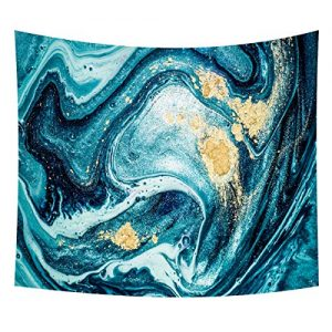 Heycell MarbleTapestry Wall Hanging Ocean Gold Blue Natural Luxury Wall Hanging Art Tablecloth Landscape Wall Decor for Bedroom Living Room(90.6ʺ × 70.9ʺ, Blue)