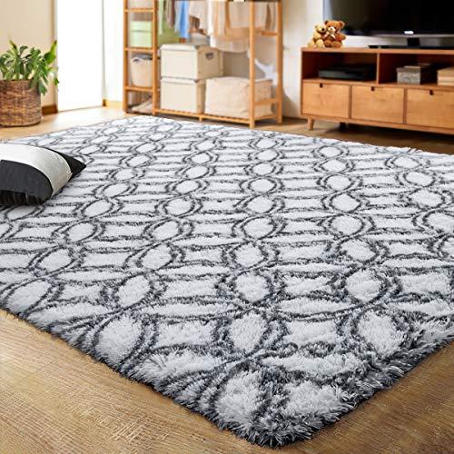 LOCHAS Luxury Velvet Shag Area Rug Mordern Indoor Plush Fluffy Rugs, Extra Soft and Comfy Carpet, Geometric Moroccan Rugs for Bedroom Living Room Girls Kids Nursery (5x8 Feet, Grey/White)