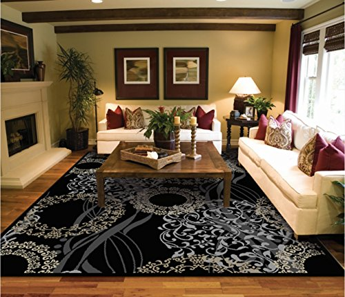 Luxury Modern Rugs for Living Dining Room Black Cream Beige Rug 5x7 Contemporary Eetrance Rug Indoor Area Rugs 5x8 Bedroom Rugs