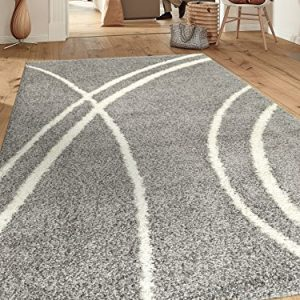 "Cozy Contemporary Stripe L.Grey-White 7'10"" X 10' Indoor Shag Area Rug"