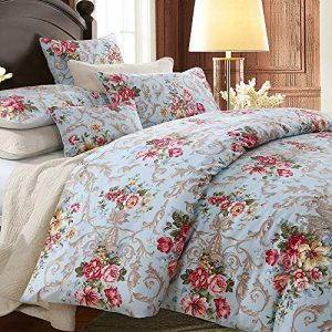 Softta Boho Chic Shabby Floral Classic Luxury Collection Elegant Peony And Leaves Bedding Sets Design King Size 3Pcs 1 Duvet Cover+ 2 Pillowcases/shams 100% Egyptian Cotton Duvet Cover Set