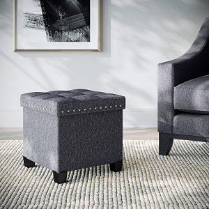 Nathan James 71102 Payton Foldable Storage Ottoman Footrest and Seat, Cube, Gray
