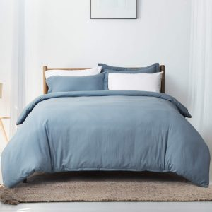 Bedsure Grayish Blue Duvet Cover Set King Size Soft Duvet Cover with Zipper 3 Pieces Microfiber Bedding Set