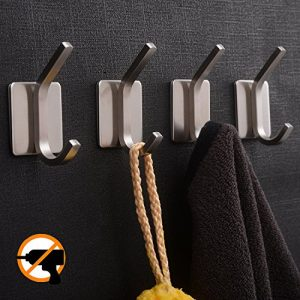YIGII Towel Hook/Adhesive Hooks - Bathroom Hooks Wall Hooks Bath Show Robe Hook Self Adhesive Coat Hook Stick on Wall Stainless Steel Brushed 4-Packv