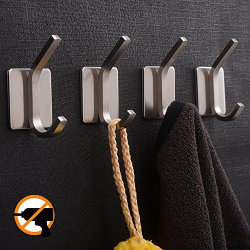 YIGII Towel Hook/Adhesive Hooks - Bathroom Hooks Wall Hooks Bath Show Robe Hook Self Adhesive Coat Hook Stick on Wall Stainless Steel Brushed 4-Packv