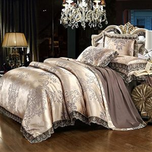 Duvet Cover Set Satin Embroidery Bedding Luxury European Neoclassical Style,3 Piece,King Size