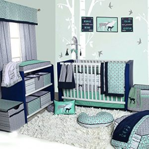 Bacati Tribal 10-Piece Nursery-in-a-Bag Crib Bedding Set with Bumper Pad, 100 Percent Cotton Percale Boys Crib Bedding Set with Bumper Pad for US Standard Cribs (Noah Mint/Navy)
