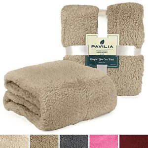 PAVILIA Luxury Sherpa Twin Size Bed Blanket | Fluffy, Plush, Shaggy, Large Throw for Couch, Sofa | Soft, Lightweight, Microfiber | Solid Taupe Brown Bedding Blanket | 60 x 80 Inches