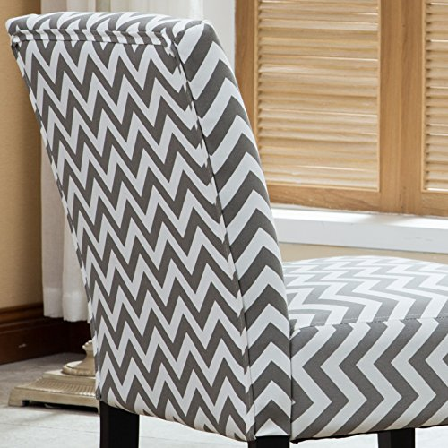 Roundhill Furniture Botticelli Grey Wave Print Fabric Armless Contemporary Bundle Dimensions: 25.5 x 23.three x 33.zero inches
