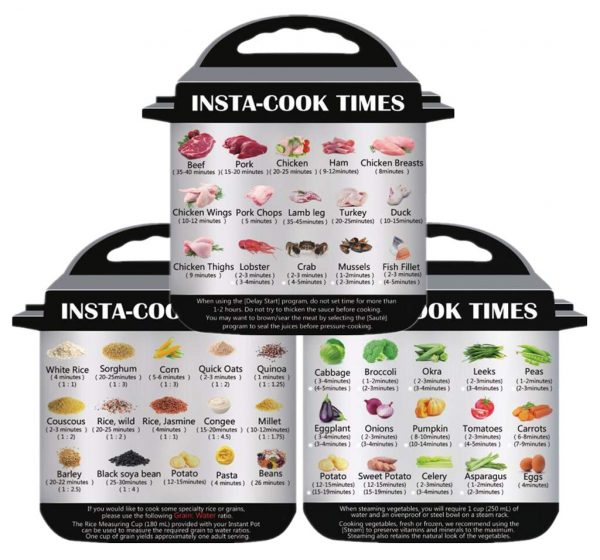 3 in 1 Electric Pressure Cooker Cook Times Quick Reference Guide Compatible with Instant Pot , Instant pot Accessories Magnetic Cheat Sheet Magnet Set