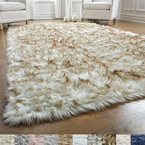 GORILLA GRIP Original Premium Faux Fur Area Rug, Soft Living Room Area Rug, 5 FT x 7 FT, Bedroom Floor Rugs, Softest Feeling Carpet, Best Touch, Luxury Modern Room Décor, Rectangle, Frosted Tips Brown