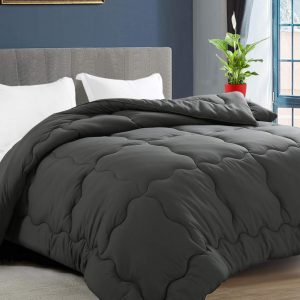 KARRISM All Season Down Alternative Queen Comforter, Winter Warm Ultra Soft Quilted Duvet Insert with Corner Tabs, Wavy Box Stitched, Luxury Fluffy Lightweight (Grey, 88 x 88 inch)