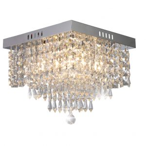 Modern Luxury Crystal Chandelier, Contemporary Flush Mount Ceiling Light Fixture Raindrop Square Chandelier Lighting for Living Room Bedroom