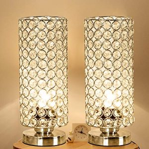 Focondot Crystal Table Lamp, Decorative Nightstand Room Lamps, Bedside Night Light Lamp, Fashionable Small Table Lamp Set of 2 for Bedroom, Living Room, Dresser, Dining Room (2PACK)