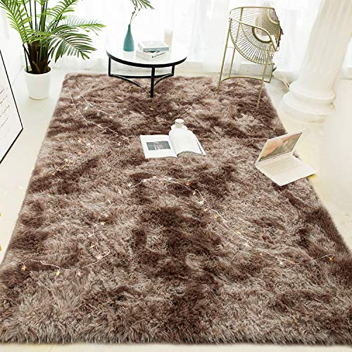 LOCHAS Luxury Velvet Shag Area Rug Modern Indoor Fluffy Rugs, Extra Comfy and Soft Carpet, Abstract Accent Rugs for Bedroom Living Room Dorm Home Girls Kids, 5x8 Feet Brown/Ivory
