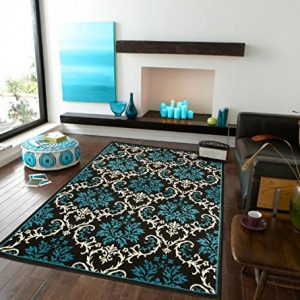 Luxury Opera Blue Area Rugs Modern Abstract Contemporary Rugs Blue 5x7 Flowers Diamond Blue Area Rugs For Dining and Living Room, 5x8 Rug