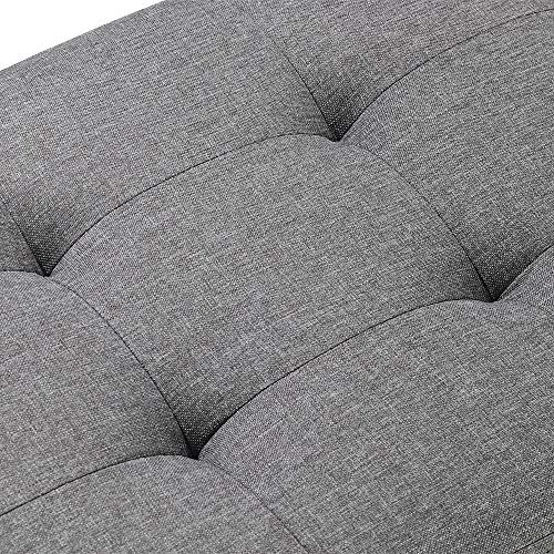 MorNon Bench Seat Dark Grey Fabric Upholstered Bench Seat MorNon Bench Seat Dark Grey Fabric Upholstered Bench Seat with X-Shaped Wood Legs for Bedroom Living Room Entryway Hallway or Foyer.