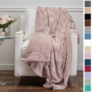 The Connecticut Home Company Luxury Faux Fur with Sherpa Reversible Throw Blanket, Super Soft, Large Wrinkle Resistant Blankets, Warm Hypoallergenic Washable Couch or Bed Throws, 65x50, Dusty Rose