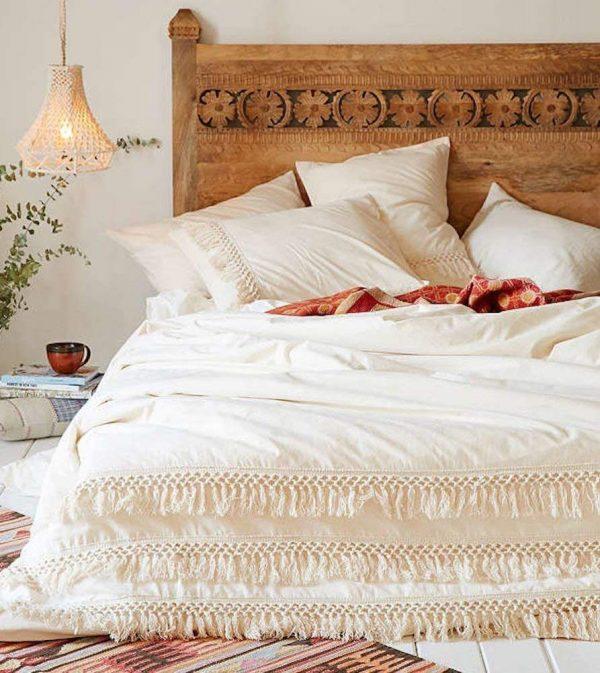 White Duvet Cover Fringed Cotton Tassel Duvet Cover Quilt Cover Full Queen, 86inx90in
