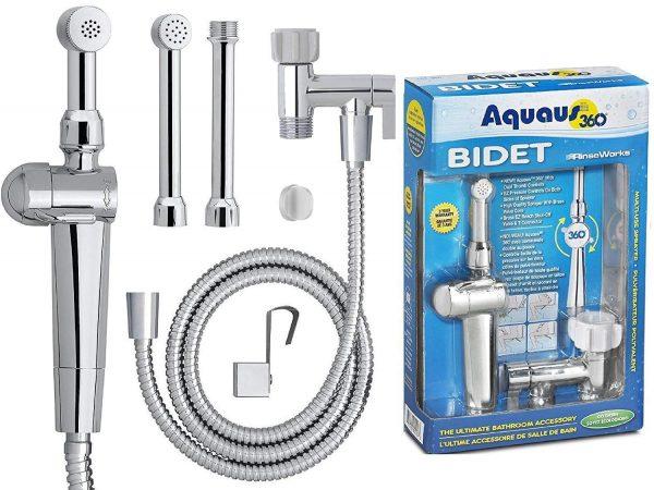 RinseWorks - Aquaus 360 Patented Hand Held Bidet Sprayer - NSF cUPC Certified for Legal Installation - 2 Backflows – Dual Pressure Controls - StayFlex Hose - 3 to 11 Inch Spray reach - 3 Year Warranty