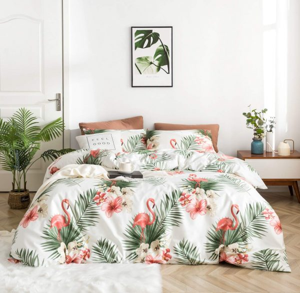 YuHeGuoJi 3 Pieces Duvet Cover Set 100% Egyptian Cotton Queen Size Coral Flamingo Bedding Set 1 Green Palm Leaves Pattern Duvet Cover with Zipper Ties 2 Pillowcase Luxury Quality Silky Soft Breathable